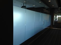Before and After Deco-Frost Privacy Window Film at Office Building in Tampa Florida